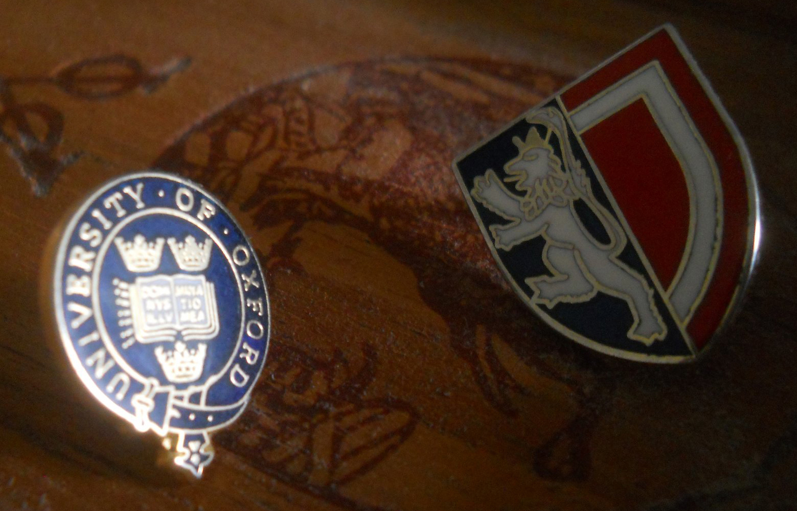 Oxford University and Balliol badges (photo: Dr Alan Taylor, Balliol 1990)