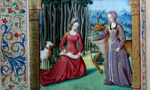 Illuminated illustration from Balliol College manuscript number 383, a 15th century French translation of Ovid's Heroides, showing a scene with two women, one seated and reading, another standing with a bow