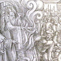 The execution of Thomas Cranmer from Foxe's Book of Martyrs (585 f 8)