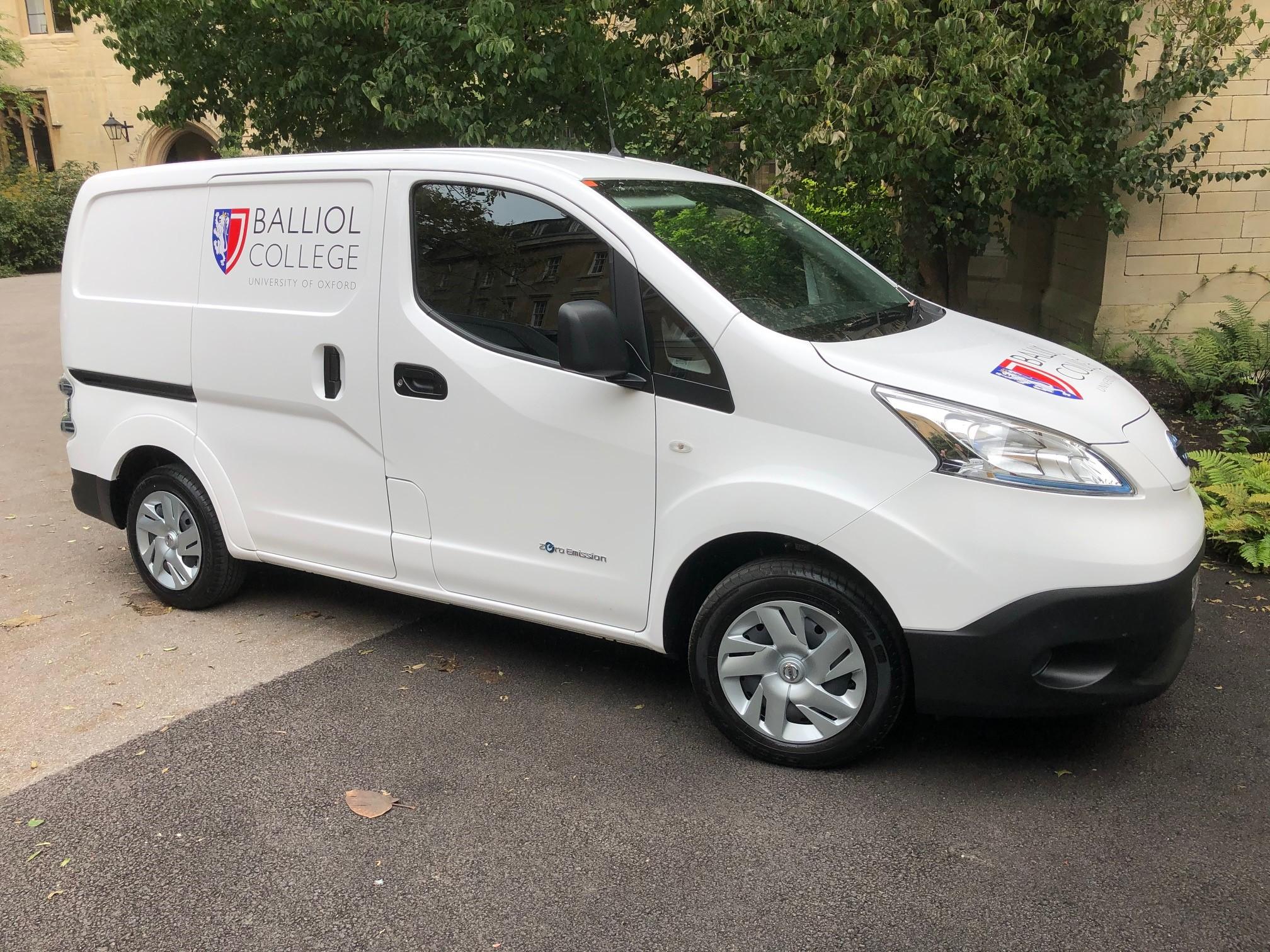 Balliol's electric van - side view