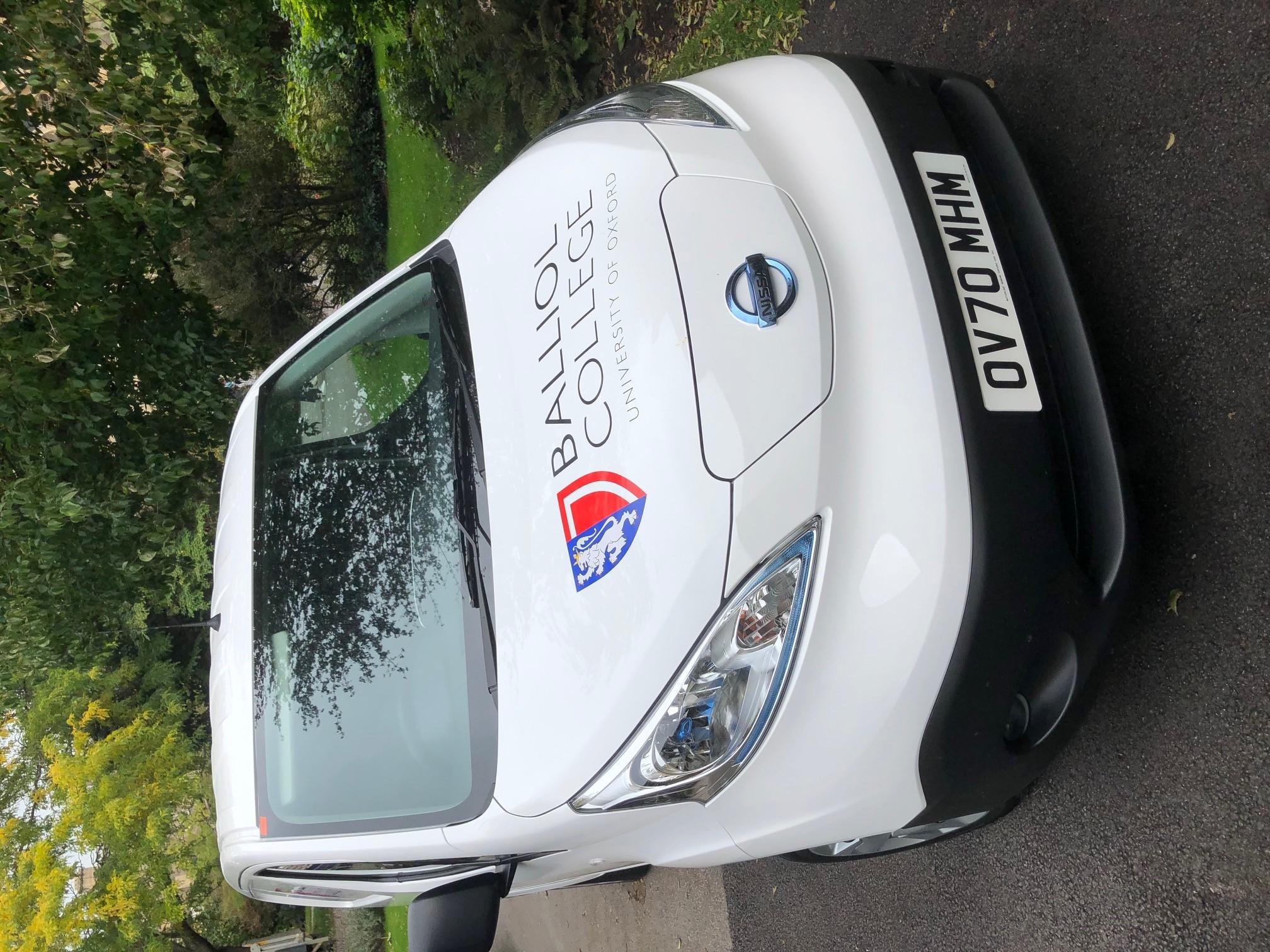 Balliol's electric van - front view