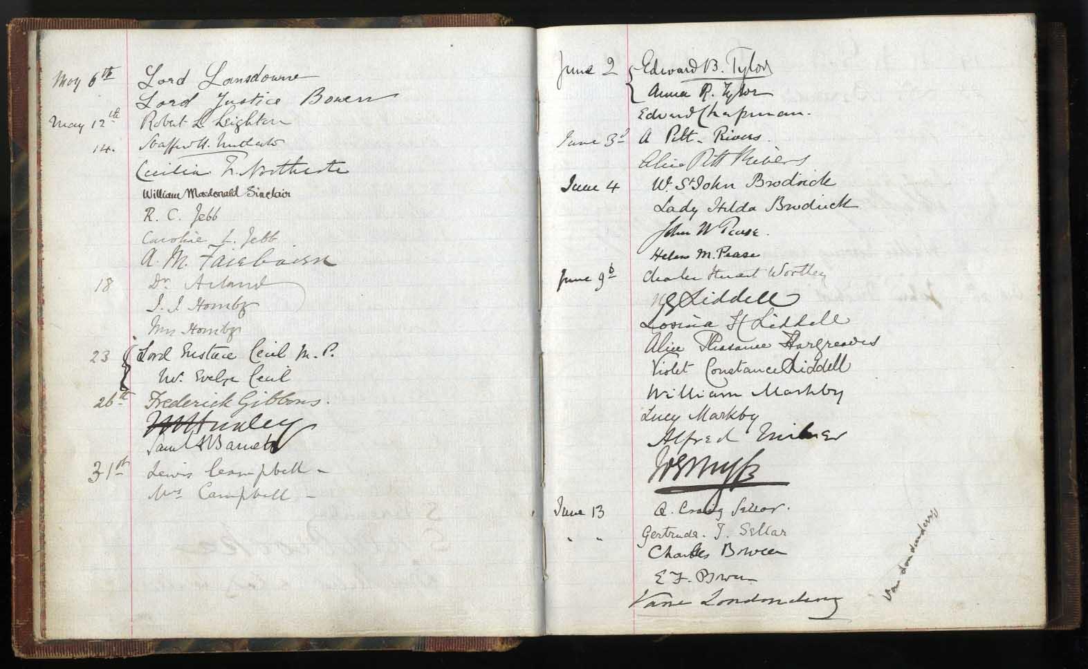Guest book of Benjamin Jowett, Balliol Master, 1883