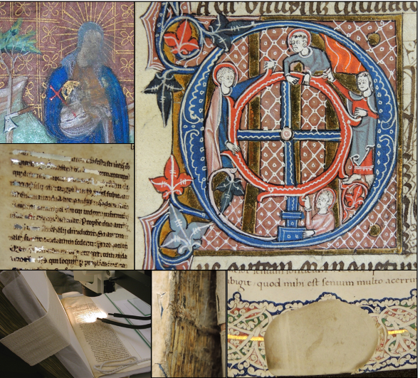 Composite image of various details from the medieval manuscripts of Balliol College