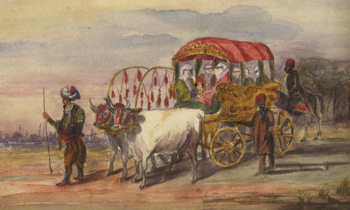 Watercolour drawing from the sketchbooks of the Morier family, several of whom were diplomats, showing a turbaned man leading a carriage drawn by oxen and containing veiled women