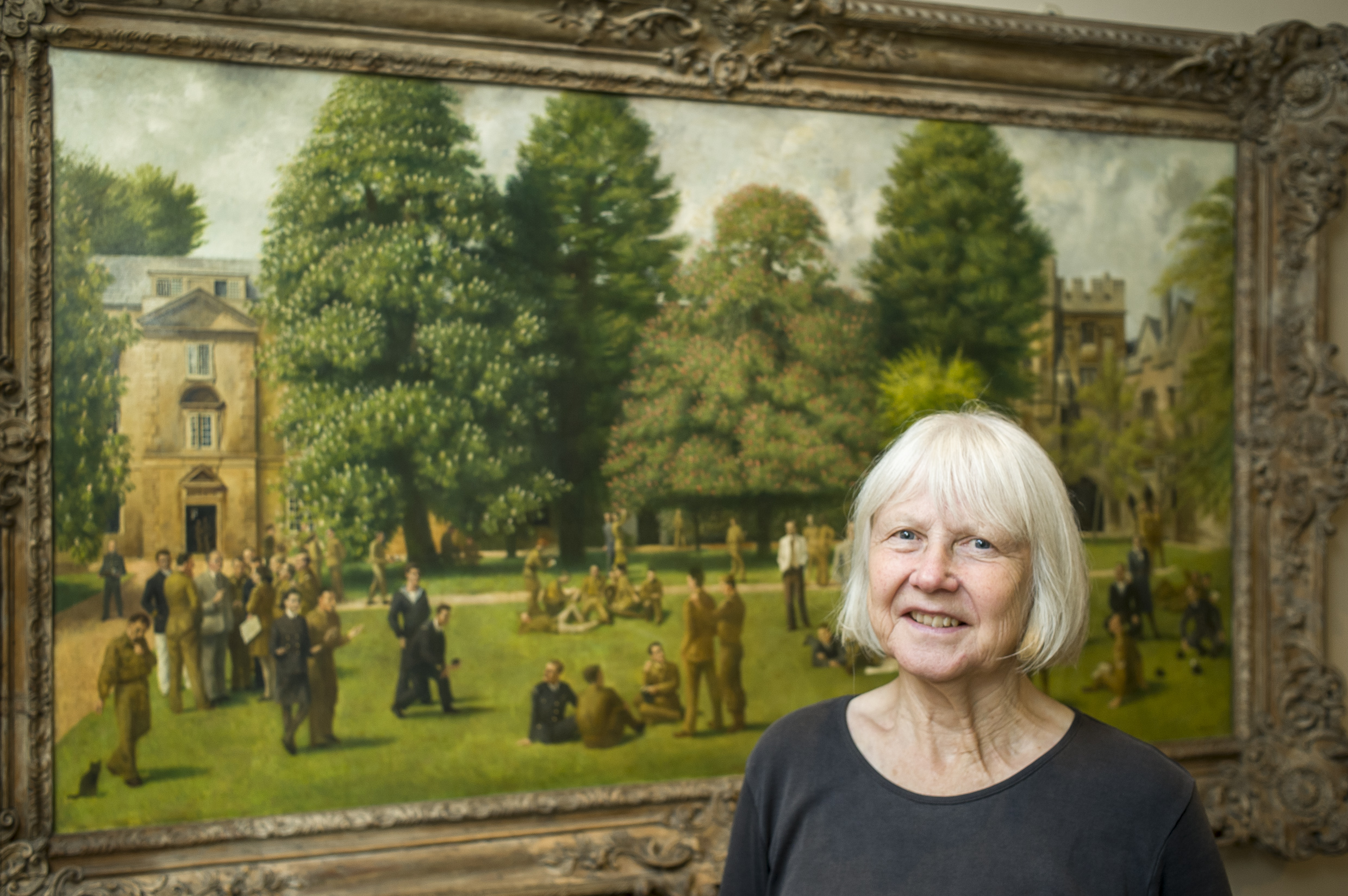 Philippa Bambach with Balliol's painting by her father Richard Eurich  (photo: Paul Carter)