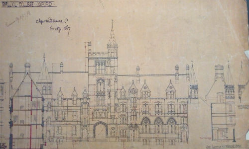Image of one of Alfred Waterhouse's projections for the design of Balliol's Broad Street frontage, 1867